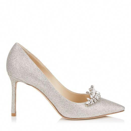 46e39847a3d2 JIMMY CHOO ROMY 85 Platinum Ice Dusty Glitter Pointy Toe Pumps with Crystal  Tiara.
