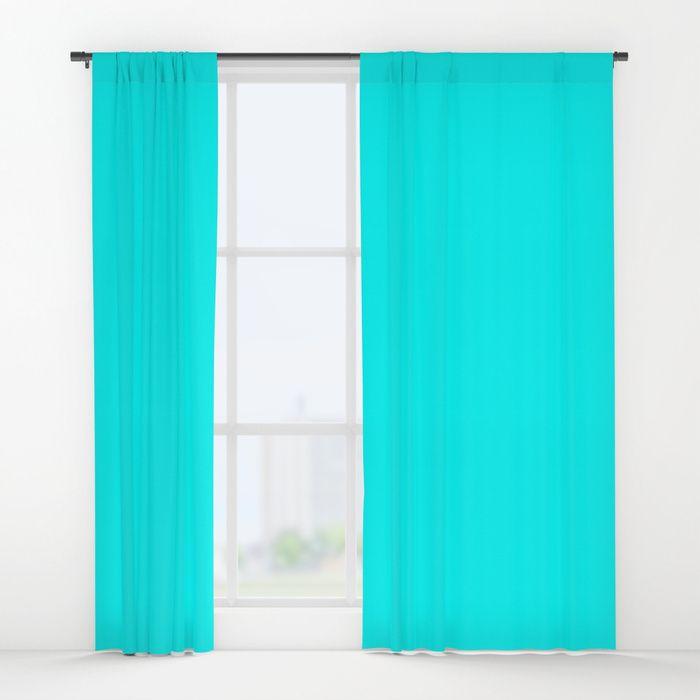Neon Aqua Blue Bright Electric Fluorescent Color Window Curtains