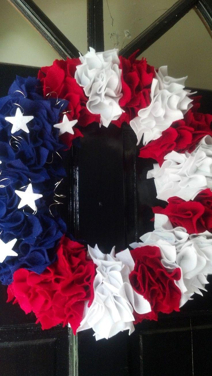Felt  American flag wreath - Patriotic decorations - summer wreaths - DIY wreath