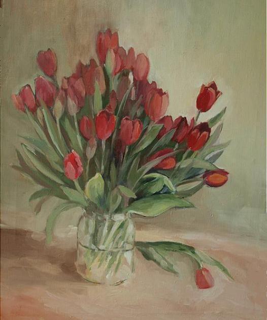 ANNA KINGA BARDZKA (©2012 artmajeur.com/anna-kinga-bardzka) tulips painting  anna  kinga  flowers nice picture
