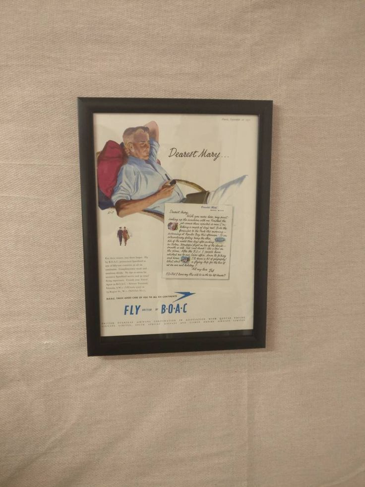 Vintage Framed Fly British by BOAC Advertisement, A4 Framed Advert, from 1951 Punch Magazine, great Christmas Gift by FramedbyFiona on Etsy