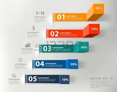 Medidas comerciales modernos a informes de éxito y las gráficas opciones de banners Foto de archivo
