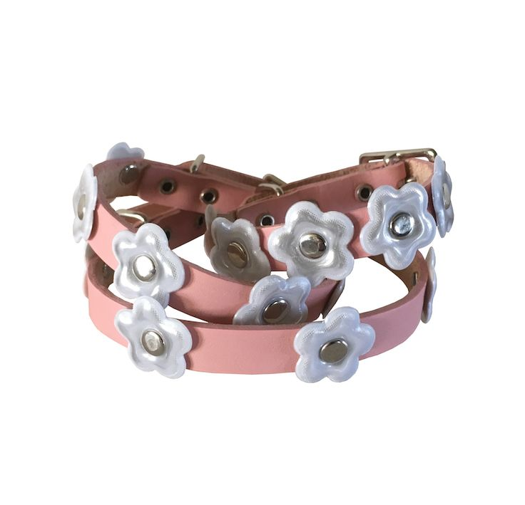 "Reflective dog collar ""Mary Mini Ultra Kawaii"" pink from Herald & Ic la Chic"