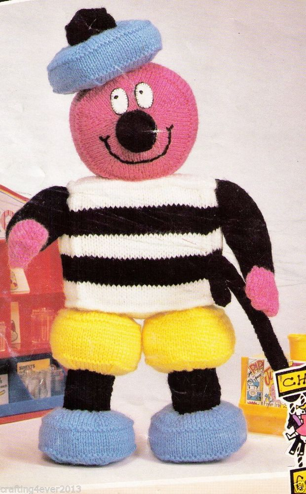 VINTAGE  BERTIE BASSETT ALLSORTS SOFT TOY - 41 CMS TALL- 8PLY KNITTING PATTERN