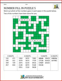 maths puzzles number fill in puzzle 5