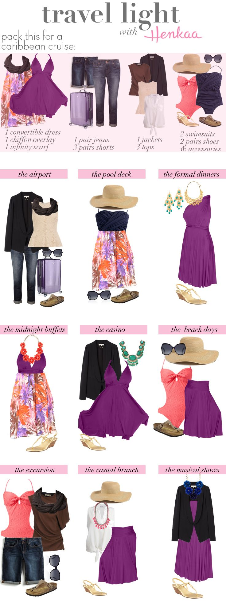 Travel Light with Henkaa – Caribbean Cruise: Use a convertible dress to stretch your clothing options and make carry on travel easier