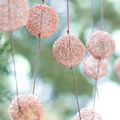 Copper Pompom Garland in HOLIDAY TRIM THE TREE Garlands+Stems at #Terrain