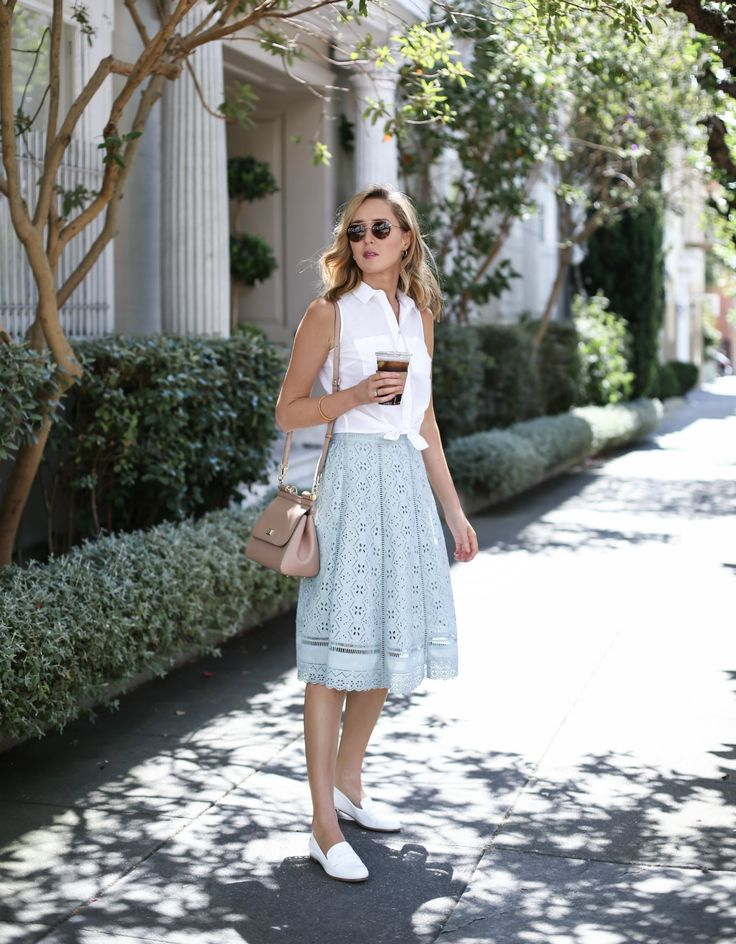 Mint Eyelet Midi Skirt - MEMORANDUM, formerly The Classy CubicleMEMORANDUM, formerly The Classy Cubicle