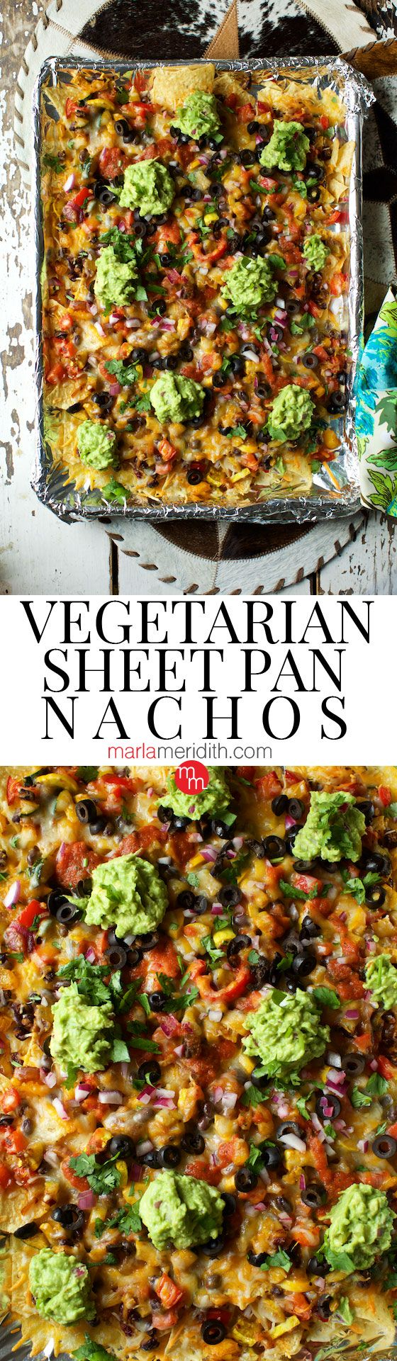 Vegetarian Sheet Pan Nachos recipe, the best nachos you will ever eat! Serve for family dinners and Cinco de Mayo. MarlaMeridith.com ( @marlameridith )
