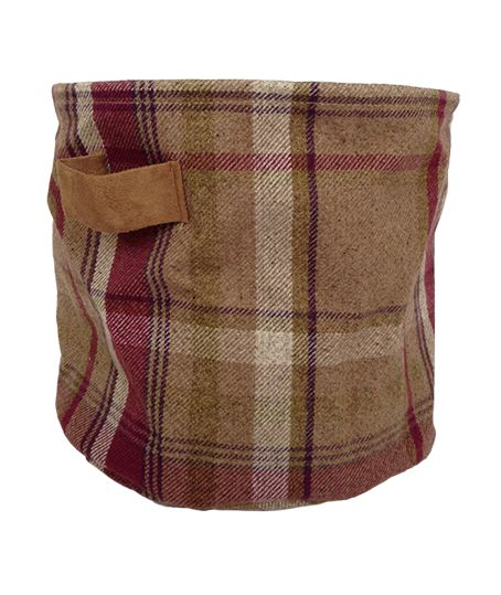 Wool Look Check Mulberry Fabric Storage Basket Medium - McAlister