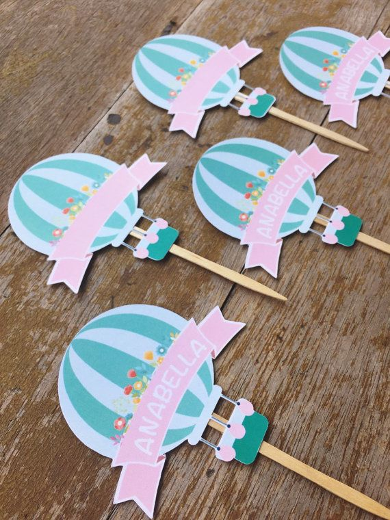 Hot air balloon cupcake topper cupcake topper by MBHaccessories
