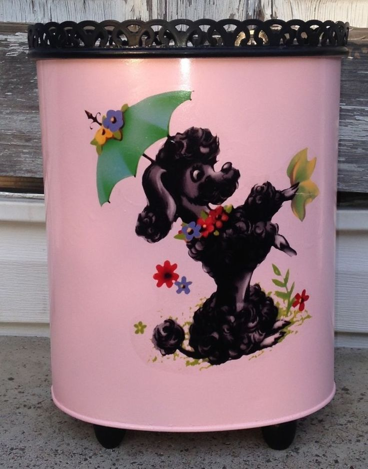 Vintage 50s 60s Ransburg Pink Black Metal French Poodle Trash Can Wastebasket 39.99