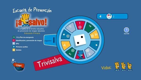 """""""Trivisalva"""" es un juego de trivial para valorar los concimientos sobre prevención de riesgos: comportamientos sociales y sanitarios, evacuaciones, educación vial, etc. Se puede jugar en solitario o en competición con otros jugadores."""