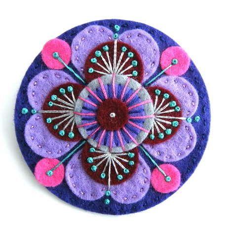 purple felt embroidered brooch