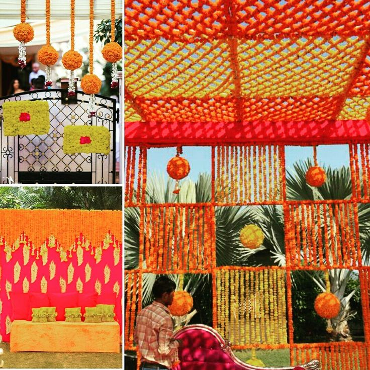 Beautiful floral decoration with Marigolds. Let your #mehndi celebration be as colorful as you! #InspiredWeddingDecor #Kanpur