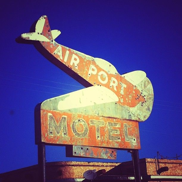 Airport Motel signc- on a back road of Plainview, Texas.
