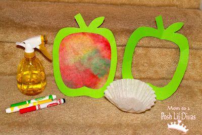 September, apple craft, Coffee Filter Apple Art