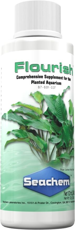 Flourish is a comprehensive plant supplement for the natural planted freshwater aquarium. It is available in sizes ranging from 100 ml to 20 Liters.
