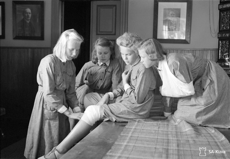 Young Finnish girls of the Lotta Svärd voluntary auxiliary paramilitary organization for women and girls practice first-aid techniques during the ongoing Finnish-Soviet Continuation War. During the war, the organization mobilized to replace men conscripted into the army. It served in hospitals, at air raid warning positions, and other auxiliary tasks in close cooperation with the army. By 1944, the Lotta Svärd organization was the world's largest unarmed female voluntary defense organization…