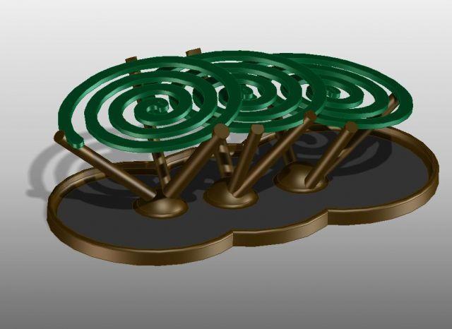3Dモデルデータ「蚊取り線香スタンド(あの日本の夏の香りが長続き)」 https://modelabo.itmedia.co.jp/1229/