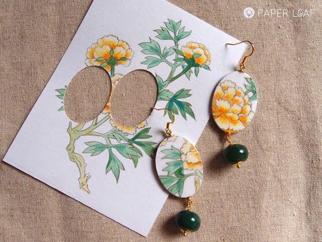 YellowPeony   handpainted paper earrings   Paper Leaf
