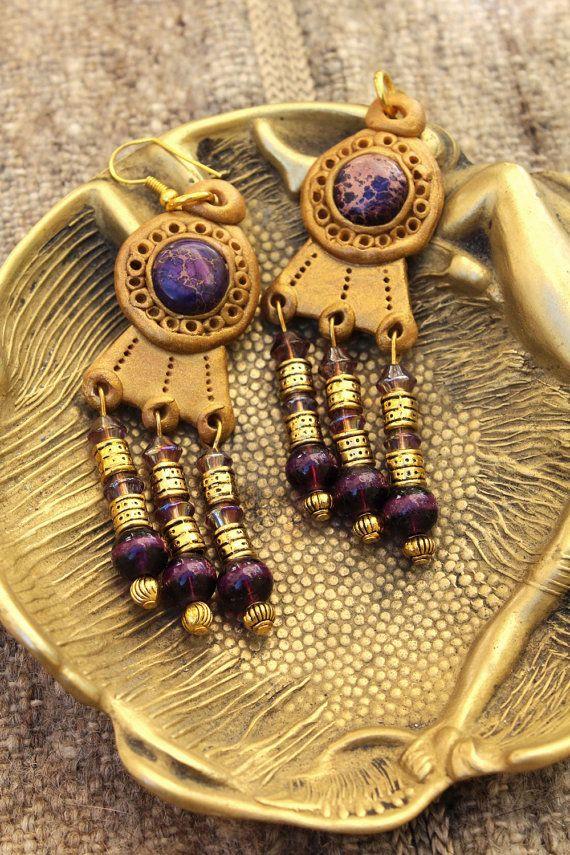 Boucles d'oreilles byzantines longues bordeaux et par MesOdalisques
