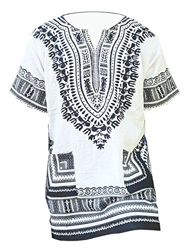 0e10bbee25a White Traditional African Print Unisex Dashiki Shirt Small to 7XL Plus Size