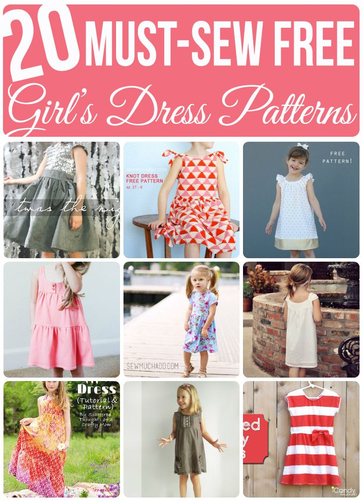 20 Free Girl's Dress Patterns - awesome list! #sewing #sewingpattern #pdfpattern #pdfsewingpattern #freepattern #sewingtutorial #girlsdresspattern #freedresspattern #sewmuchado #tutorial