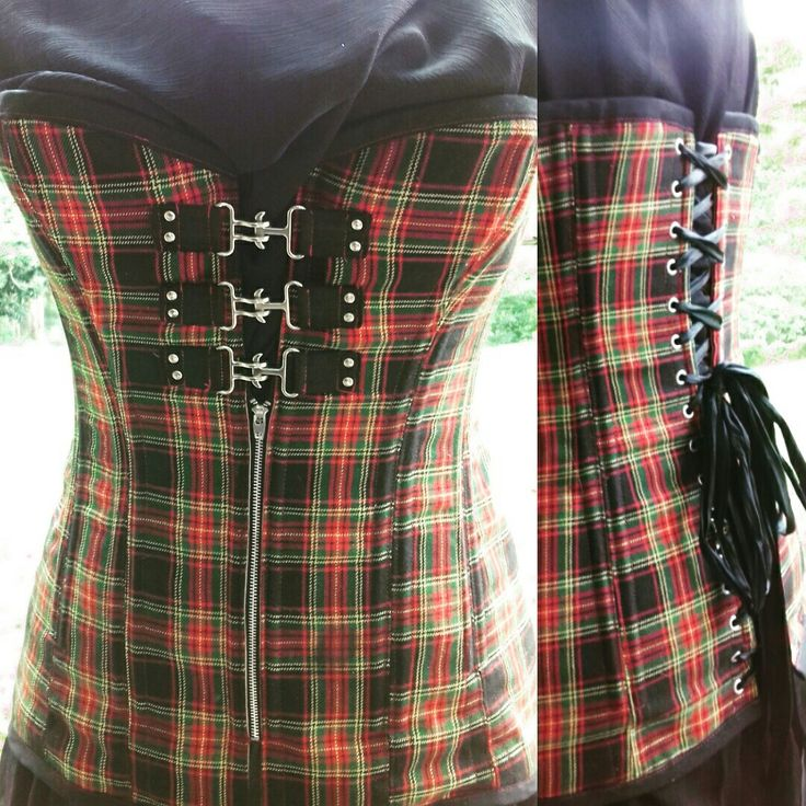 Tartan longline overbust with red stitching and zip / clasp front detail.  #corsetsbytanielle