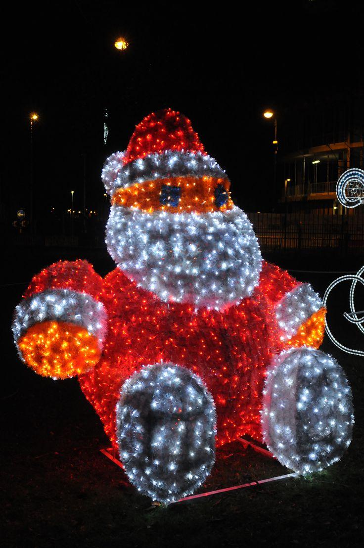 Illuminated Santa Clause as part of the Christmas Wonderland lighting at St Hilda'a Church Gardens. #Christmas #lighting #festive #sparkles