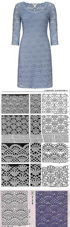 Fashionable dress crochet. Sleeve dress with crochet scheme | All of needlework: the scheme, master classes, ideas online labhousehold.com