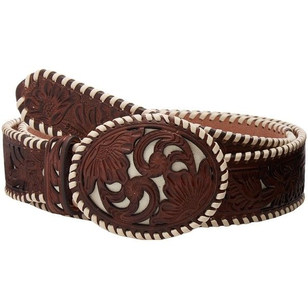 M&F Western Ivory Lace Floral Overlay Belt (Tan) Women's Belts ($59) ❤ liked on Polyvore featuring accessories, belts, ivory belt, lace belt, m&f western, tan belt and western belts
