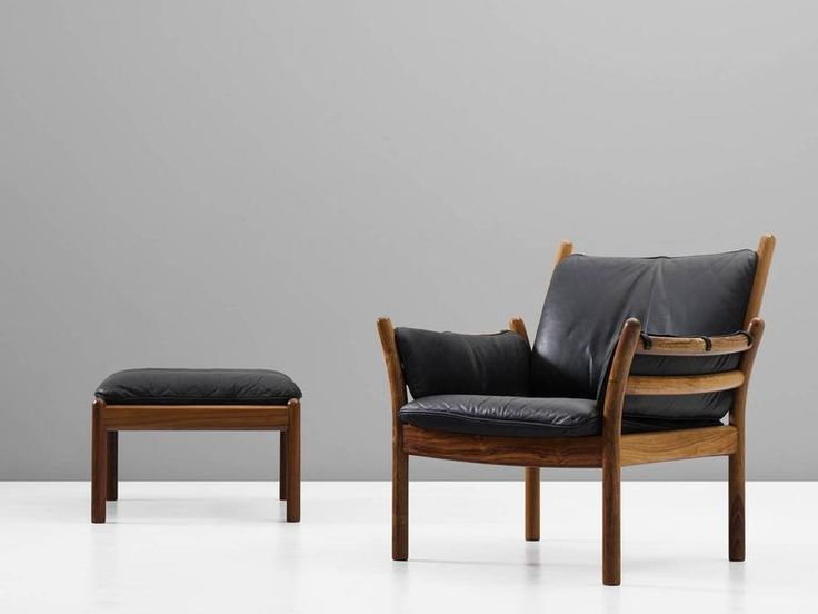 Illum Wikkelsø Solid Rosewood Lounge Chair and Ottoman