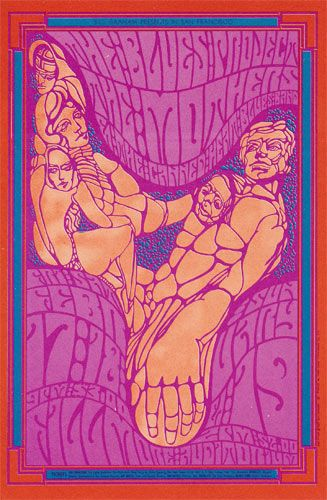 BG # 50-1 Wes Wilson Blues Project, Mothers, Canned Heat Blues Band Fillmore Poster BG50 BG-50 ... Colour