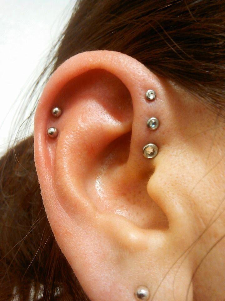 Triple forward helix piercing by Joe - Emerald Tattoo Modesto