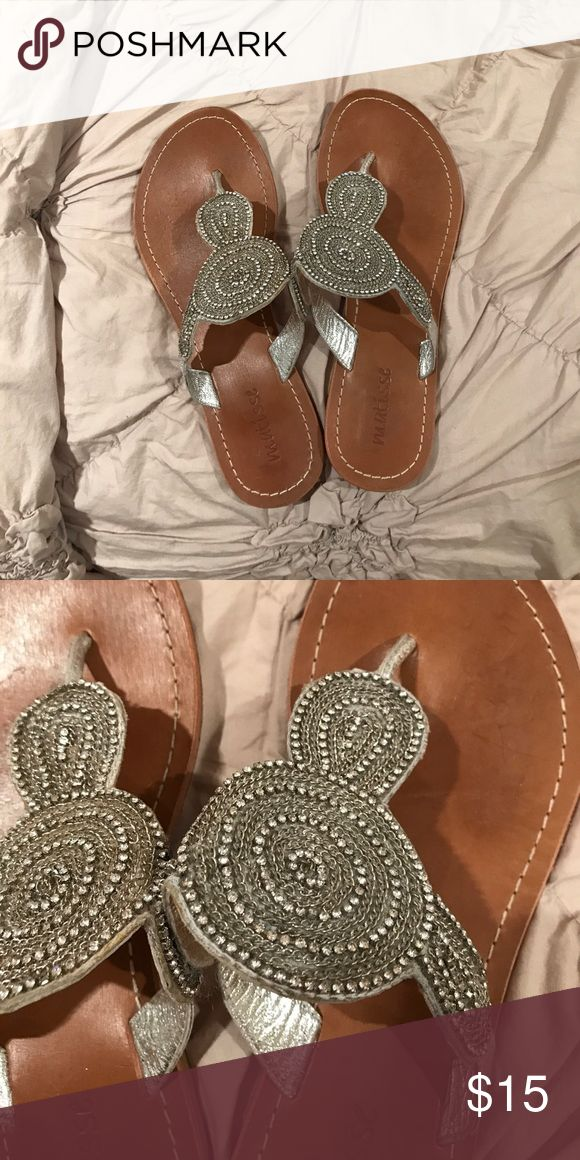 Silver sparkly flip flops Very fashionable and hardly worn matisse Shoes Sandals
