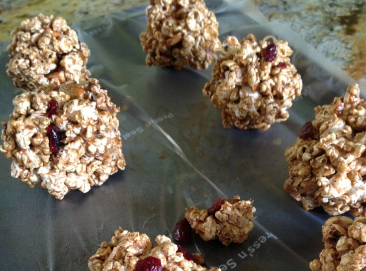 Trail mix popcorn ball | Recipes | Pinterest