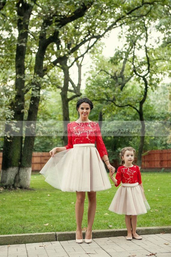 Red Lace Appliques Mother Daughter Matching Dress 2017 Two 2 Piece Long Sleeve Tulle Prom Gown Party Dresses Cute Children Dress