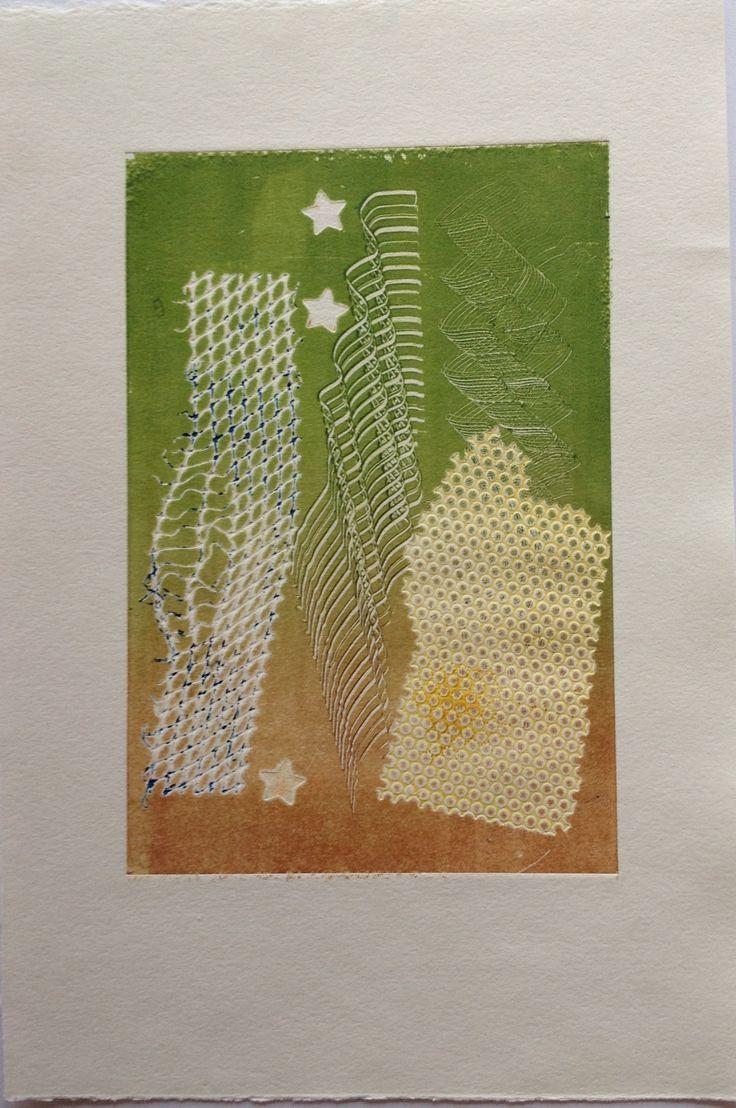 Nino Bellantonio. Untitled (Honeycomb with stars): Monoprint on Stonehenge paper. Image size 12.5cm x 19cm SOLD