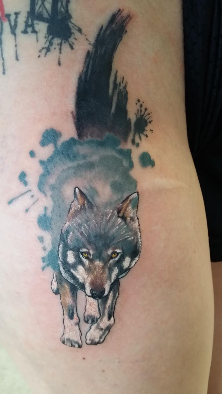 Wolf on a fellow redditor ben reiter broken clover for Red wolf tattoo