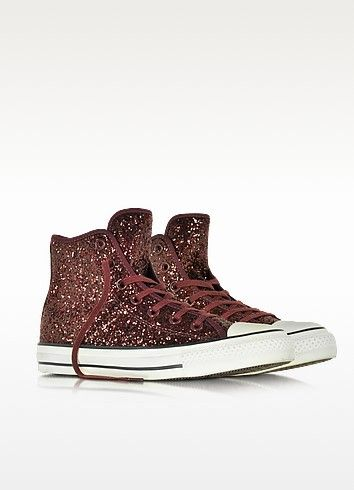 All Star - Baskets Montantes Femme en Toile Pailletée Bordeaux Converse Limited Edition