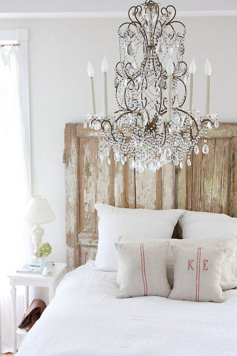 Rustic glamour bedroom chandelier burlap linens aged for Rustic french bedroom