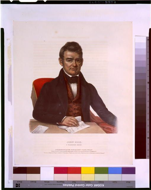 John Ross, a Cherokee chief.  Bowen, John T., approximately 1801-1856?, lithographer. Popular Graphic Arts, Library of Congress Prints and Photographs Division.