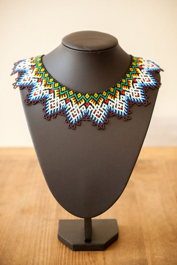 Mexican Huichol Beaded Necklace Deer