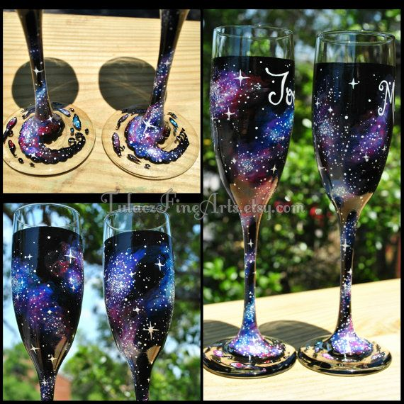 Hand Painted Cosmos Champage Glasses Galaxy by TulaczFineArts