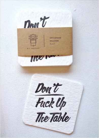 "These imperative coasters. Funny for Seth's ""poker nights"""