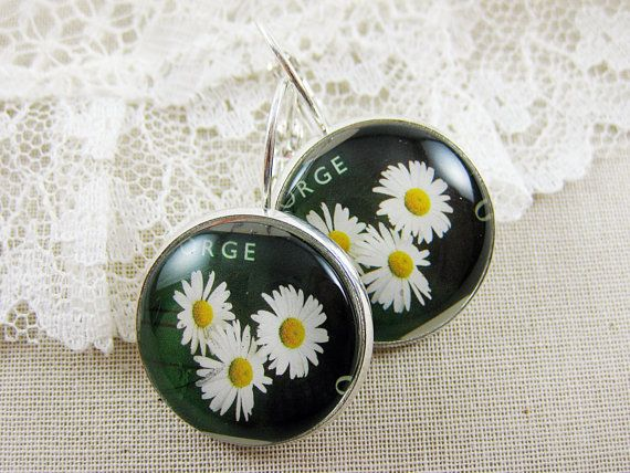 Postage Stamp Earrings / Dreaming About Daisies / by OhThePost