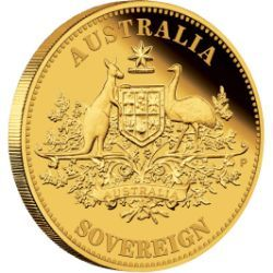2011 Perth Mint Proof Australian Gold Sovereign | The 2011 Perth Mint proof Australian gold sovereign is one of the most famous gold coins ever made. The coin is struck by The Perth Mint from 91.67% pure gold (22-karat) in proof quality.