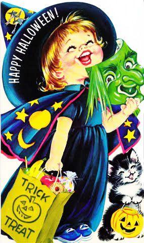 Cute vintage #Halloween card