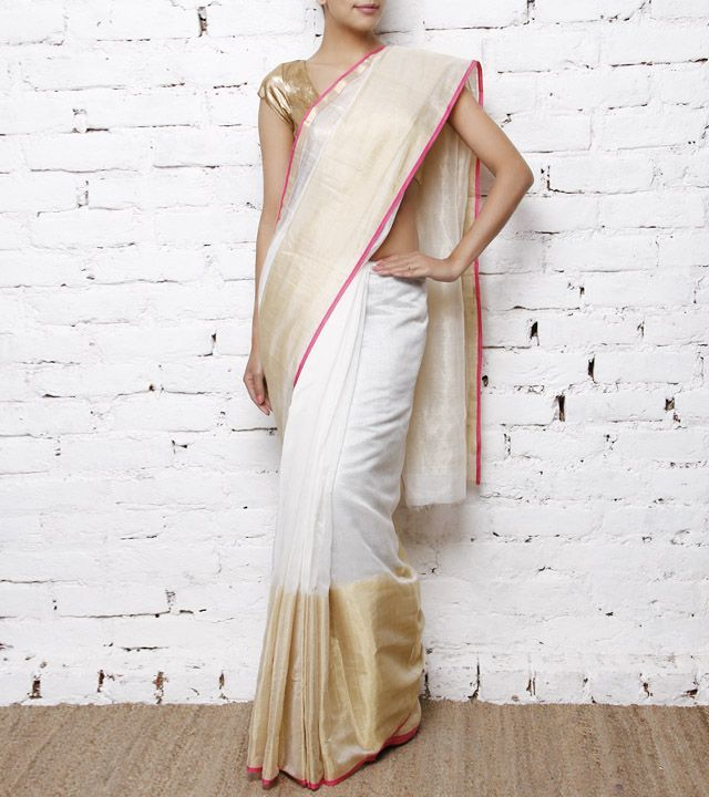 white chendari saree with zari border